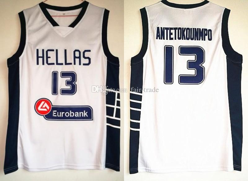 best sneakers 633fb 3a37f Dwayne Hellas Giannis Antetokounmpo Jersey Mens Cheap Basketball Jersey 13  Greece White Vintage stitched Shirt Classic