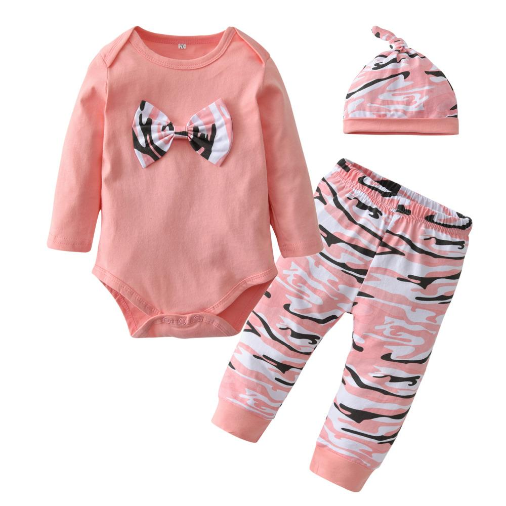 aa6a7fe46d680 Newborn Baby Girls Clothes Fashion Long Sleeve Pink Bowknot Camouflage  Romper+Pants+Hat Toddler 3Pcs Baby Clothing Set Y18120801