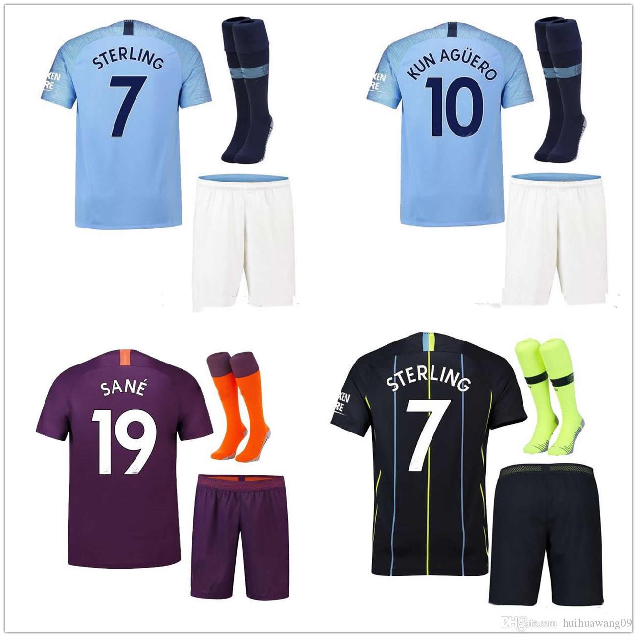 778a7893f89 2019 2018 19 KUN AGUERO THIRD ADULT Kit AWAY SOCCER JERSEYS MAHREZ STERLING  HOME 18 19 Manchester SANE DE BRUYNE G.JESUS City FOOTBALL Sets From ...