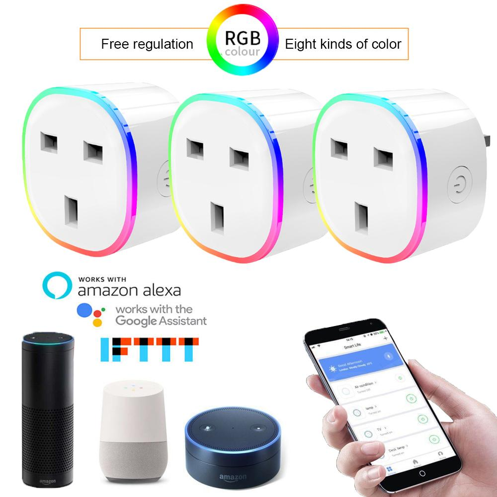 3 pcs Smart Home UK Plug RGB Light Wireless WIFI Remote Smart Plug Voice  Control Socket work with Alexa Google Home