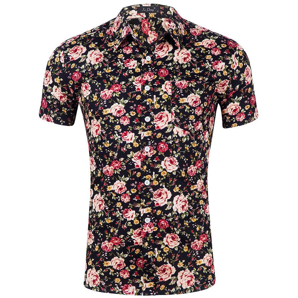 2fc307c5fd41 2019 Summer Mens Shirt Floral Print Short Sleeve Shirts Men Clothes Flowers  Printed Shirts Vintage Casual Male Shirt Camisa Feb7