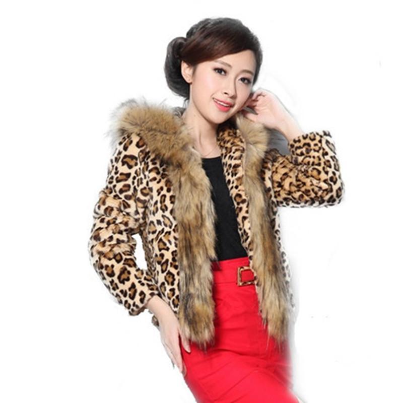 new arrival e05f5 cb492 Moda Slim Faux Fur Cappotto Donna Maniche lunghe Leopard Print Fur Donna  Cappuccio Cappuccio Giacca Cappotti Autunno Inverno Donna Capispalla