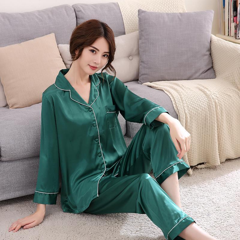 2019 J Q Women Pajamas Set Silk Pajamas Pyjama Femme Night Suit ... df4fbe049