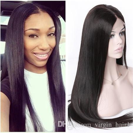 Silky Straight 360 Lace Frontal Wigs For Black Women Best Brazilian ... 990332eaa4