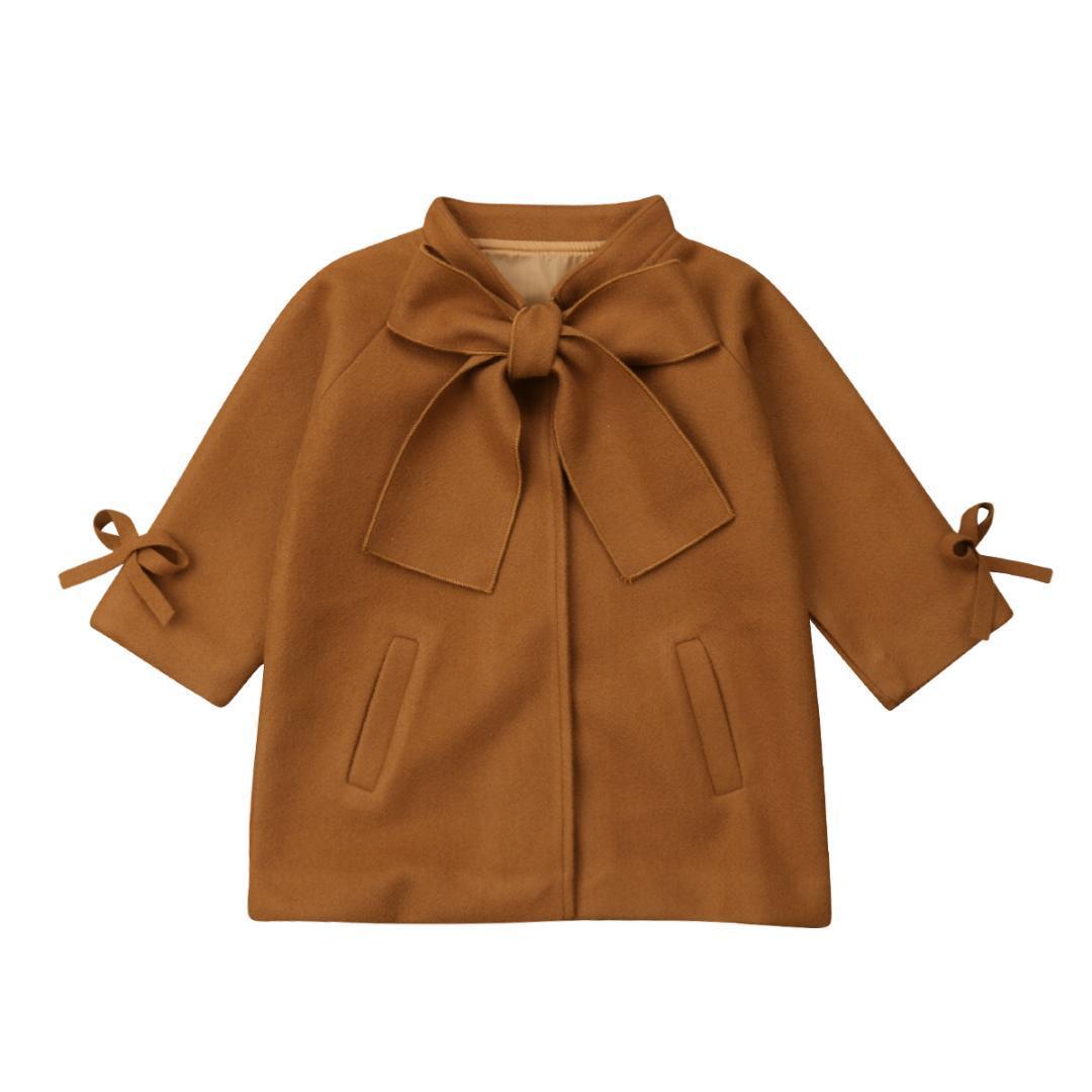 e1ba828f4699 Kid Baby Girl Winter Warm Wool Bow Coat Overcoat Outwear Jacket ...