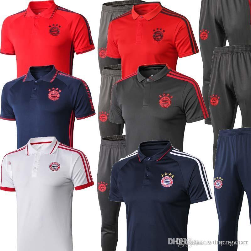 lowest price a1943 98502 new 2019 2020 Bayern Munich Polo camisetas Soccer Jersey 19/20 Bayern Blue  Fútbol Camiseta de manga corta Uniformes de fútbol Camiseta