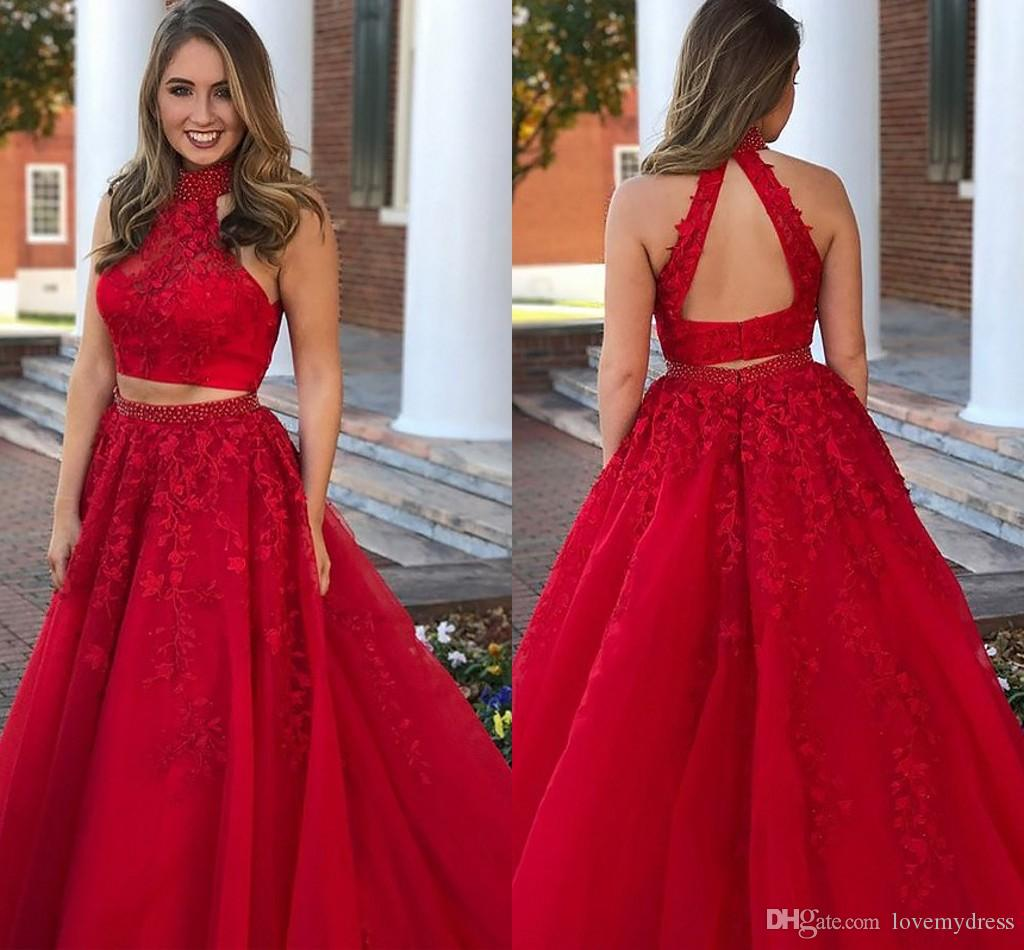 2c74c7589badb High Neck Formal Prom Dresses 2019 Beaded Crystal Lace Open Back A Line  Evening Gowns Party Dress For Women Special Occasion Orange Prom Dress  Peaches Prom ...