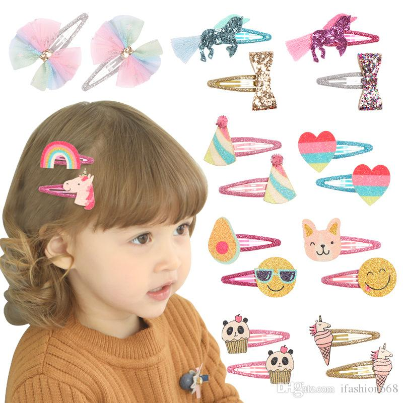 Metal Snap Hair Pins Glitter Cute Unicorn Emoji Dog Panda Hair Clips Barrettes for Baby Girls Toddlers Kids