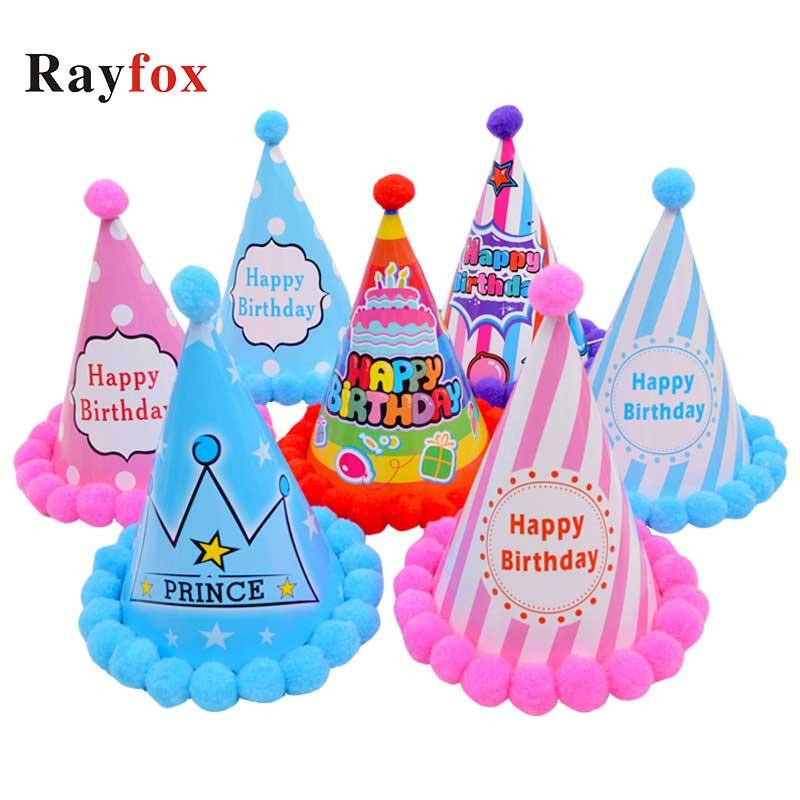 Princess Prince baby shower Birthday Pompon Paper Cone Hats Dress Up Girls Boys Birthday Party Xmas Decorations kids Supplies