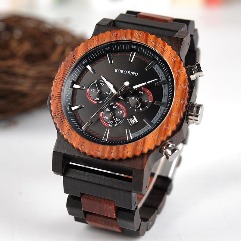 a1cd149035c Compre BOBO PÁSSARO R15 51mm Big Size Homens Relógio De Madeira Cronógrafo  De Luxo Relógio De Pulso De Quartzo Relogio Masculino De Originalwoodwatch