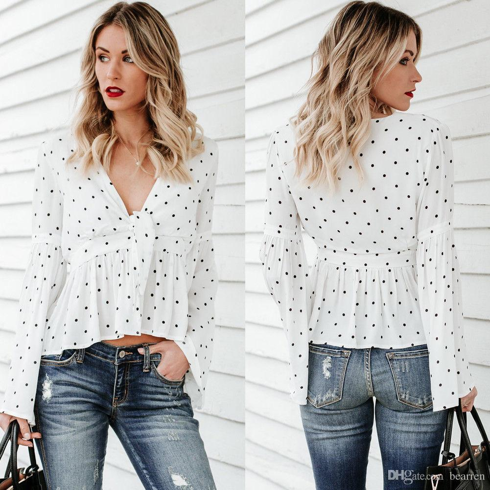 64b492f8210bbe 2019 New Women Ladies Summer Blouses Chiffon Long Sleeve Shirt Loose Casual  Dot Blouse Deep V Neck Tops Sexy Women Clothes From Bearren, $13.27 |  DHgate.Com