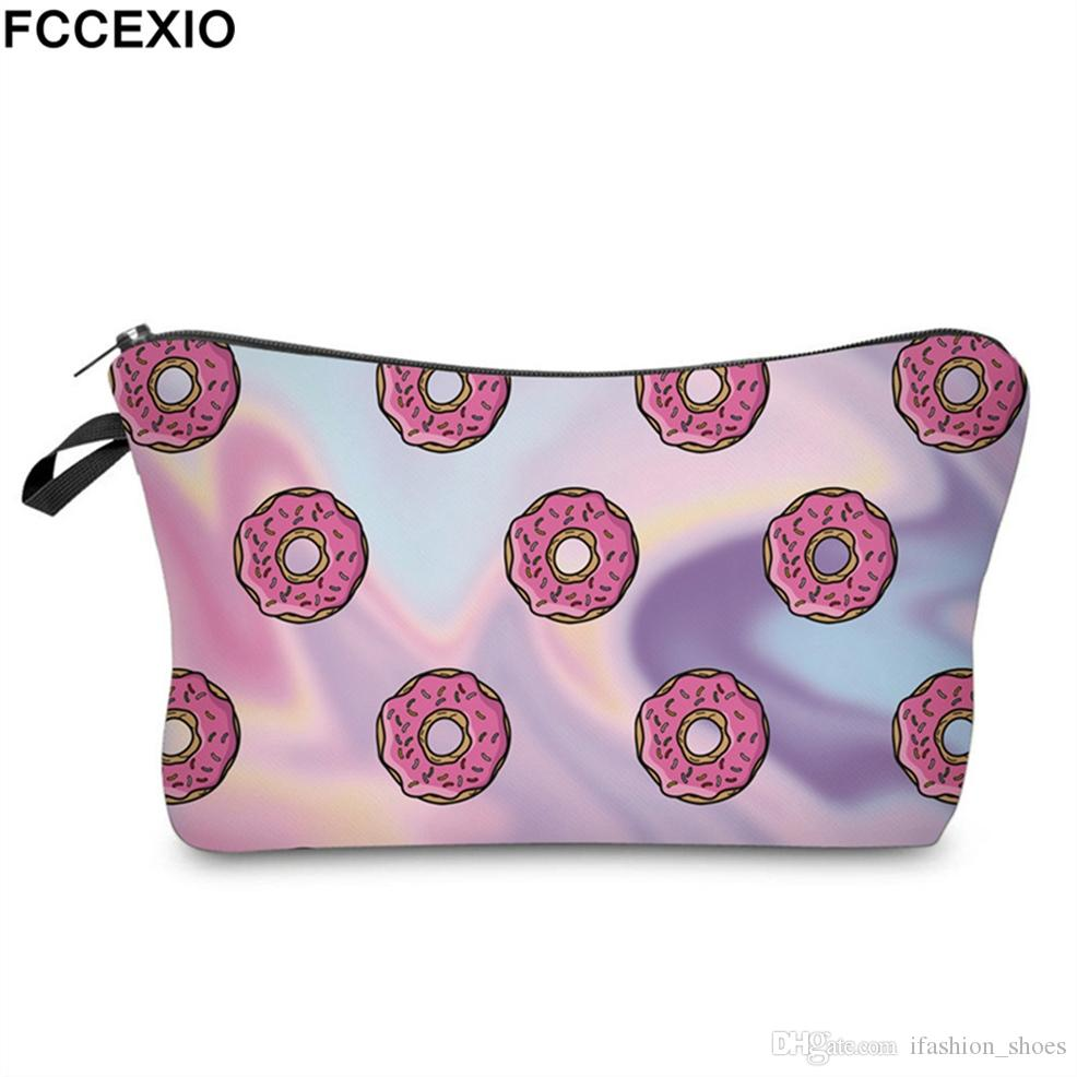 dd678e5030c7 FCCEXIO 3D Print Donuts Cosmetic Bag Multicolor Pattern Cute Cosmetics  Pouchs For Travel Ladies Pouch Women Makeup Bags 19 #87596