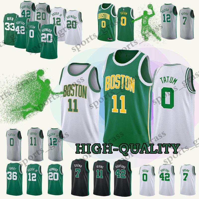 arrives cb127 1102e 2019 new Boston Kyrie 11 jerseys Celtic Jayson 0 Tatum Larry 33 Bird Jaylen  7 Brown Jersey Earned Edition High-quality