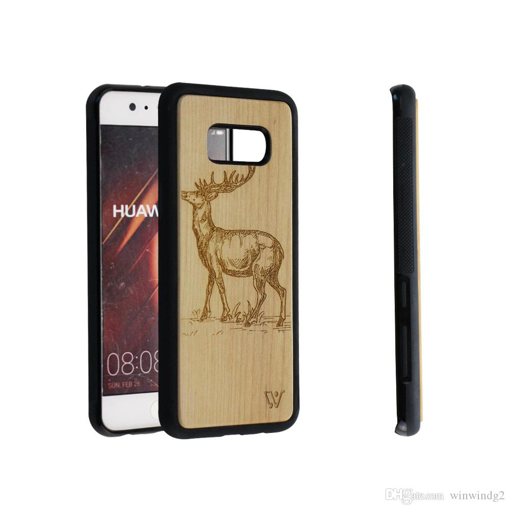 cheap for discount 4b753 e81e8 Amazon Hot Sale 2019 Deer Design Bamboo Wood Cell Phone Case Cover For  Samsung S7 S8 S9 S10 S10 Note 8 9