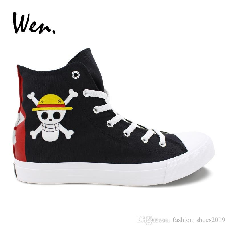 6f7bbe238f69d Wen Black High Tops Boys Girls Hand Painted Shoes Custom Design One Piece  Jolly Roger Canvas Sneakers Personalized Plimsolls #259962