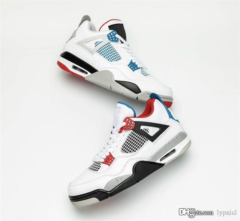 2019 neue authentische Air 4 What The Mens OG LOGO-Basketball-Schuhe White Cement Fire Red Military Blau 003jordan Mix Retro-Turnschuhe CI1184-146