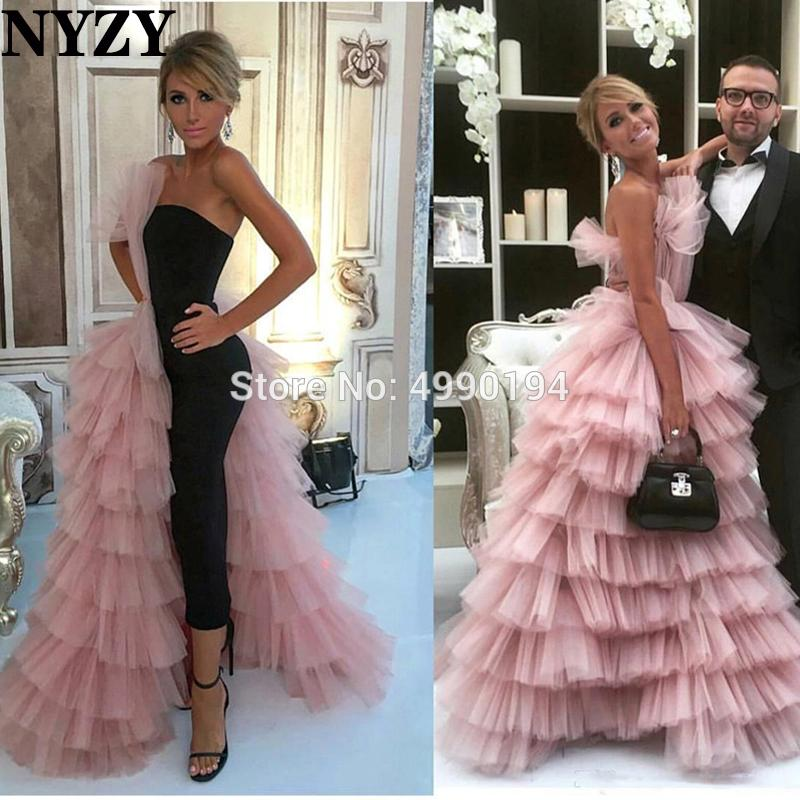 Evening Dress NYZY E218 Black Satin Pink Tulle Layered Prom Dress Celebrity Red Carpet Evening Gown Robe de Soiree