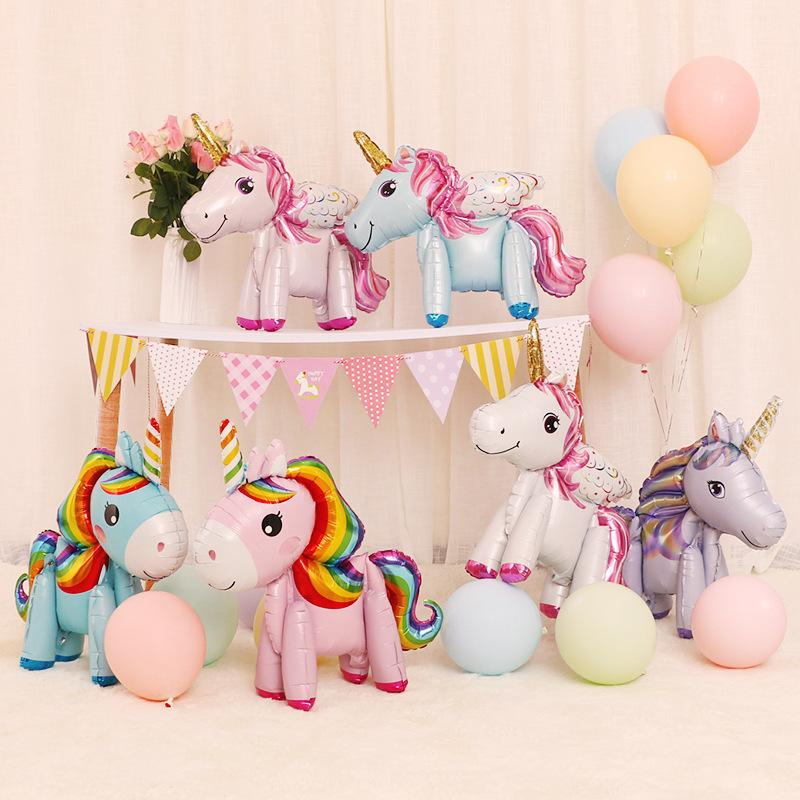 3D DIY cute rainbow unicorn foil balloons Pink Blue Purple Unicorn Stand Balloons Wedding Birthday party Decor Kids toys 0601973