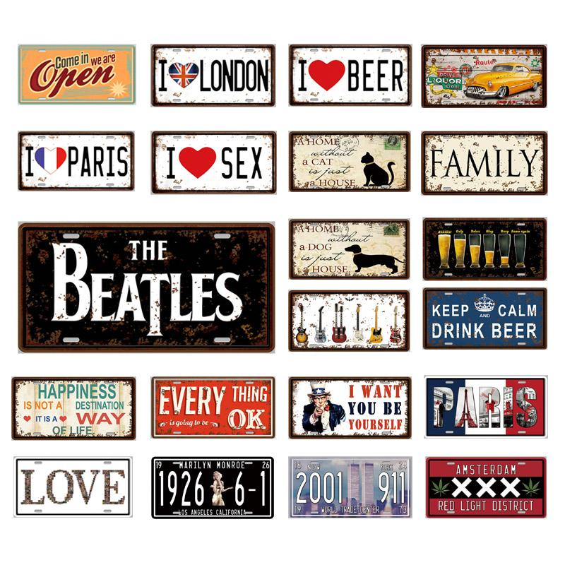 Open Number Car Metal License Plate Plaque Metal Vintage Tin Sign Metal Signs Vintage Bar Decoration Metal Poster Pub Pin Up Home