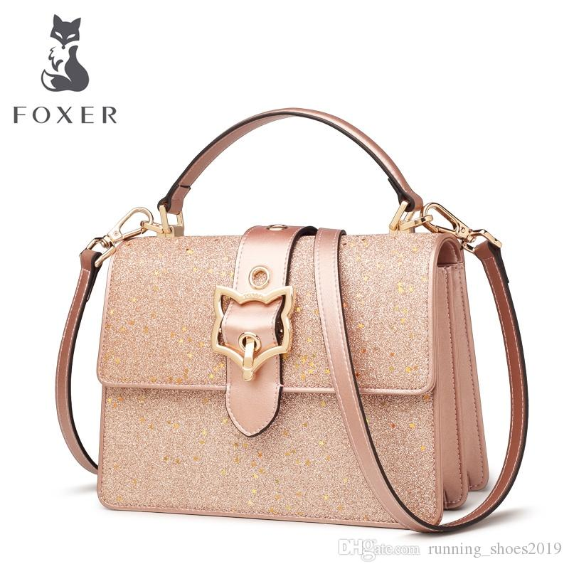 51d62108ca27 FOXER Women Leather Crossbody Bags Cowhide Female HandBag Fashion  Blingbling Messenger Bag Girls New Fashion Shoulder Bag  125781 Clutch Bags  Hobo Bags From ...
