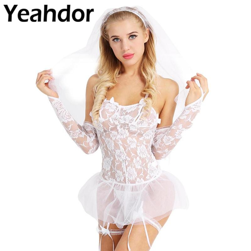White Women Lace Mesh Bride Role Play Costume Set with Babydoll Headwear With Veil G-string Leg Garters Gloves With Finger
