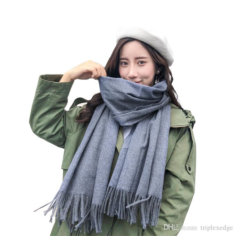 d889d5f5bdc07 2018 Hot Sale Ring Women Solid Color Cashmere Scarves With Tassel Lady  Spring Autumn Thin Long Scarf High Quality Female Shawl Hot Sale Men Scarve  Black ...