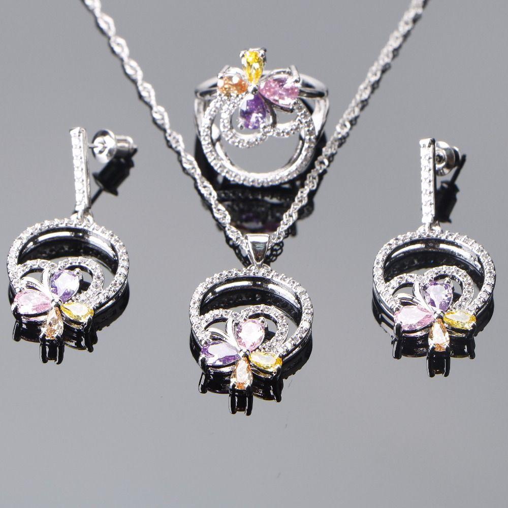 Bridal Jewelry Sets 925 Sterling Silver Wedding Earrings Women Costume  Jewelry Zirconia Stone Rings Pendant Necklace Set Bridesmaid Jewellery  Wedding ... 66adff93eab3