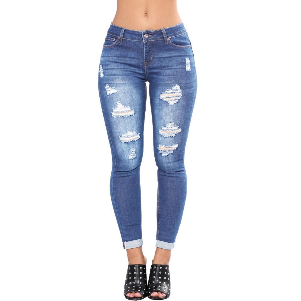 2019 2019 Women High Street Jeans Classic High Waist Tight Pants