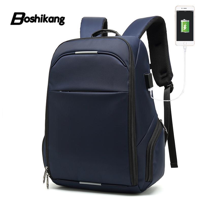 eee0cb09b1 Acquista Boshikang Carica USB Zaini Da Viaggio Da Uomo Borse Da Scuola  Impermeabili Studente Universitario Maschio 13/15/17 Pollici Laptop Travel  Backpac A ...
