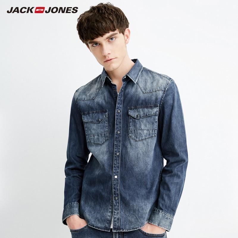 7b3fa2b40a 2019 Jackjones Men Long Sleeve Denim Shirt Mens Casual Dress Male ...