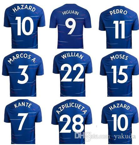 2019 18 19 Season Home 9 PULISIC 10 Hazard 29 MORATA Soccer Jerseys ... 0a83988ff