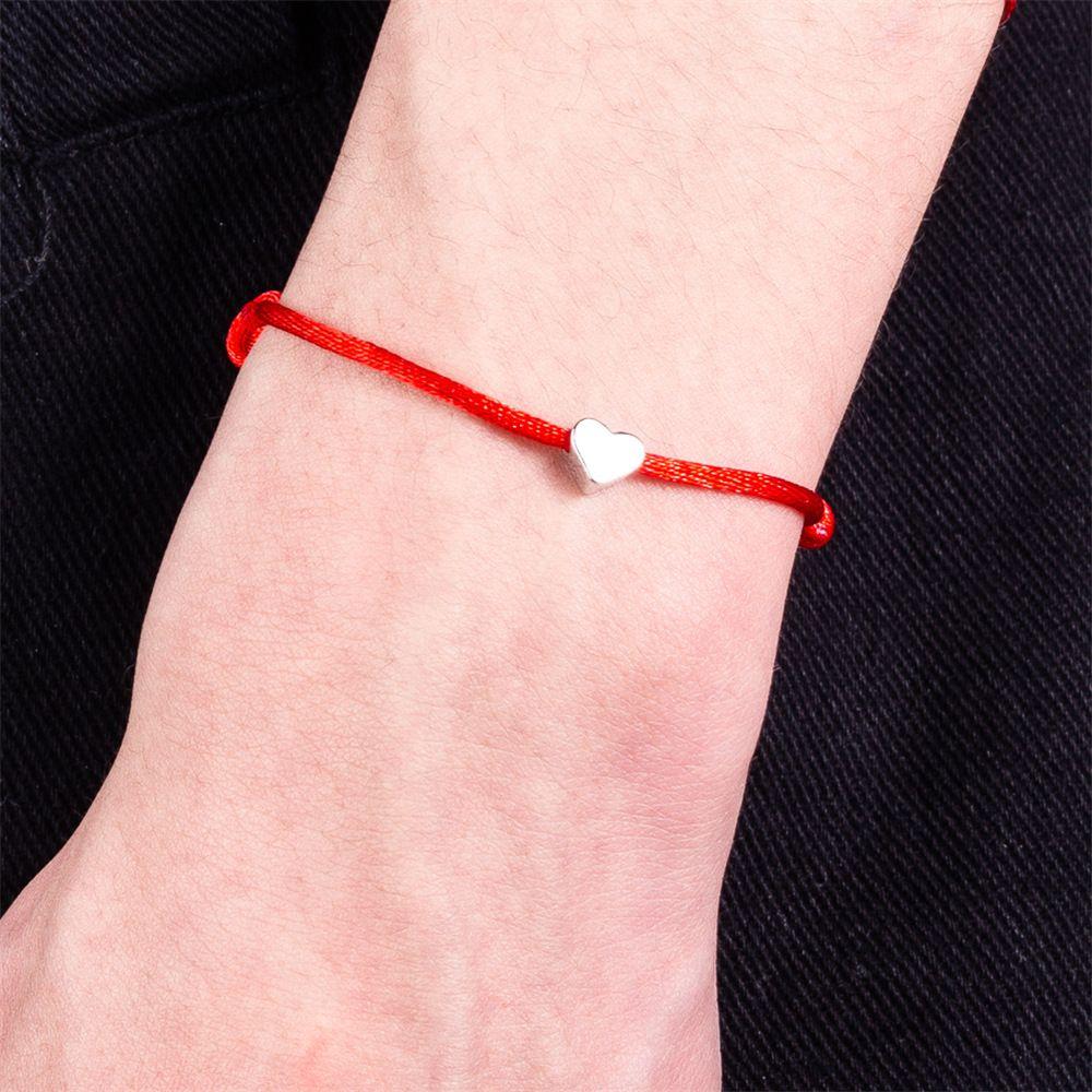 60f2c233336e LINDAJOUX Sencilla Pulsera de Cuerda de Hilo de Color de Plata Del Corazón  Para Las Mujeres de Los Hombres Hecho A Mano Cuerda de Hilo Rojo joyería