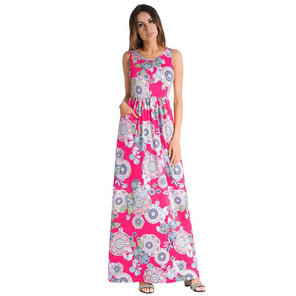 40c92ba311 Compre 2019 Moda De Verano Vestido Largo De Las Mujeres Estampado Floral Sin  Mangas Maxi Vestido De Cintura Elástica Vestido Largo Sin Tirantes Vestidos  De ...