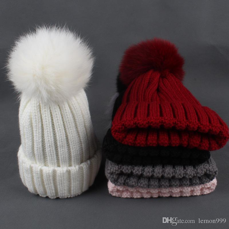 34b2b0dc Winter Kids Beanies Hats Baby Boys Girls Thicken Knitted Hat Warm Acrylic Knit  Beanie Cap For Girls With Fox Fur Pompom Ball Caps Baseball Cap Slouchy ...