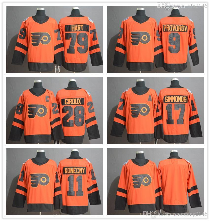 fc5dac60a47 2019 Philadelphia Flyers 28 Claude Giroux 79 Carter Hart 9 Ivan Provorov 11  Travis Konecny 17 Wayne Simmonds 2019 Stadium Series Hockey Jerseys From ...