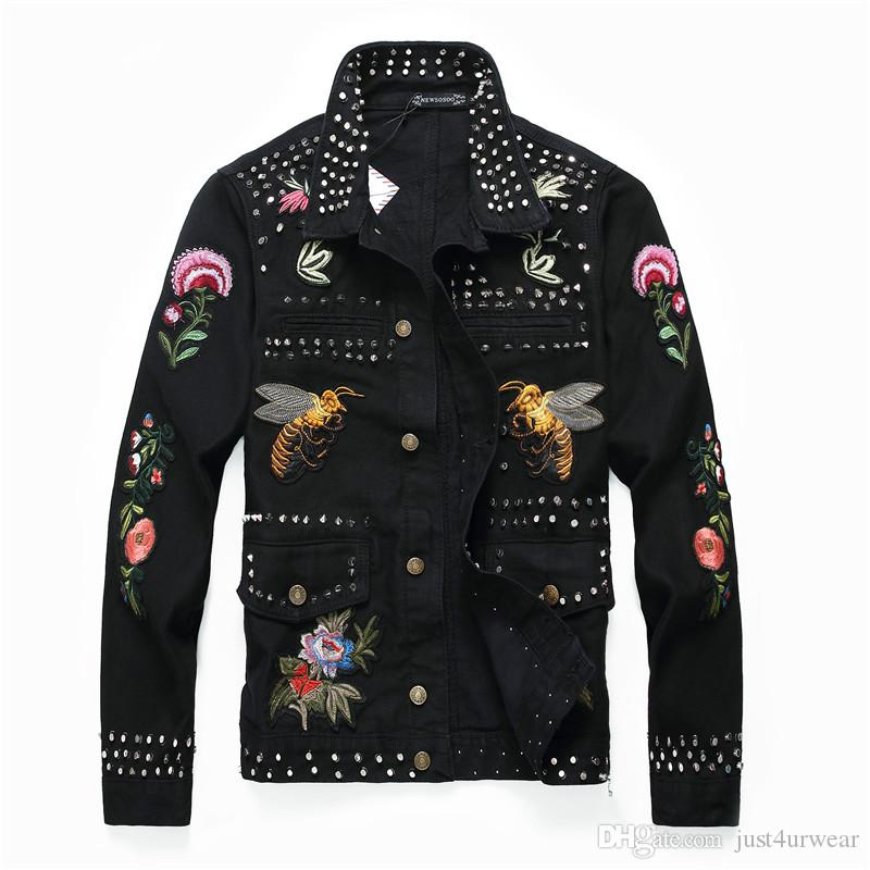Floral Bee Embroidery Rivet Design Mens Denim Coats Streetwear Hip Hop Slim Denim Jackets Hommes Biker Denim Jackets Coats Womens Tops