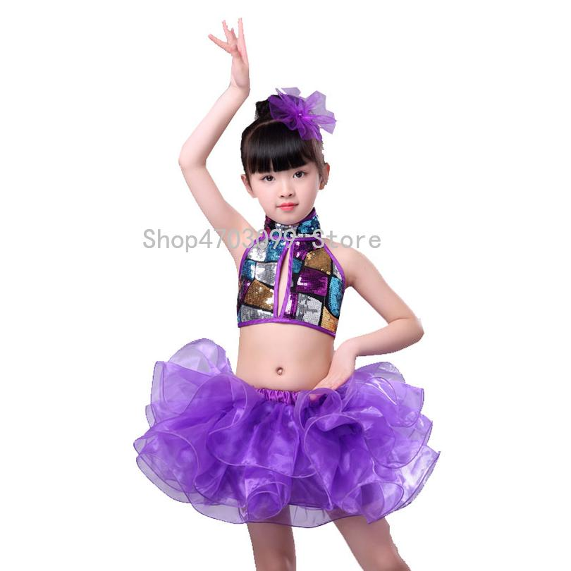 cf84282d31 2019 new models high quality children's costumes veil new kindergarten  Latin dance skirt children's jazz dance sequin costume
