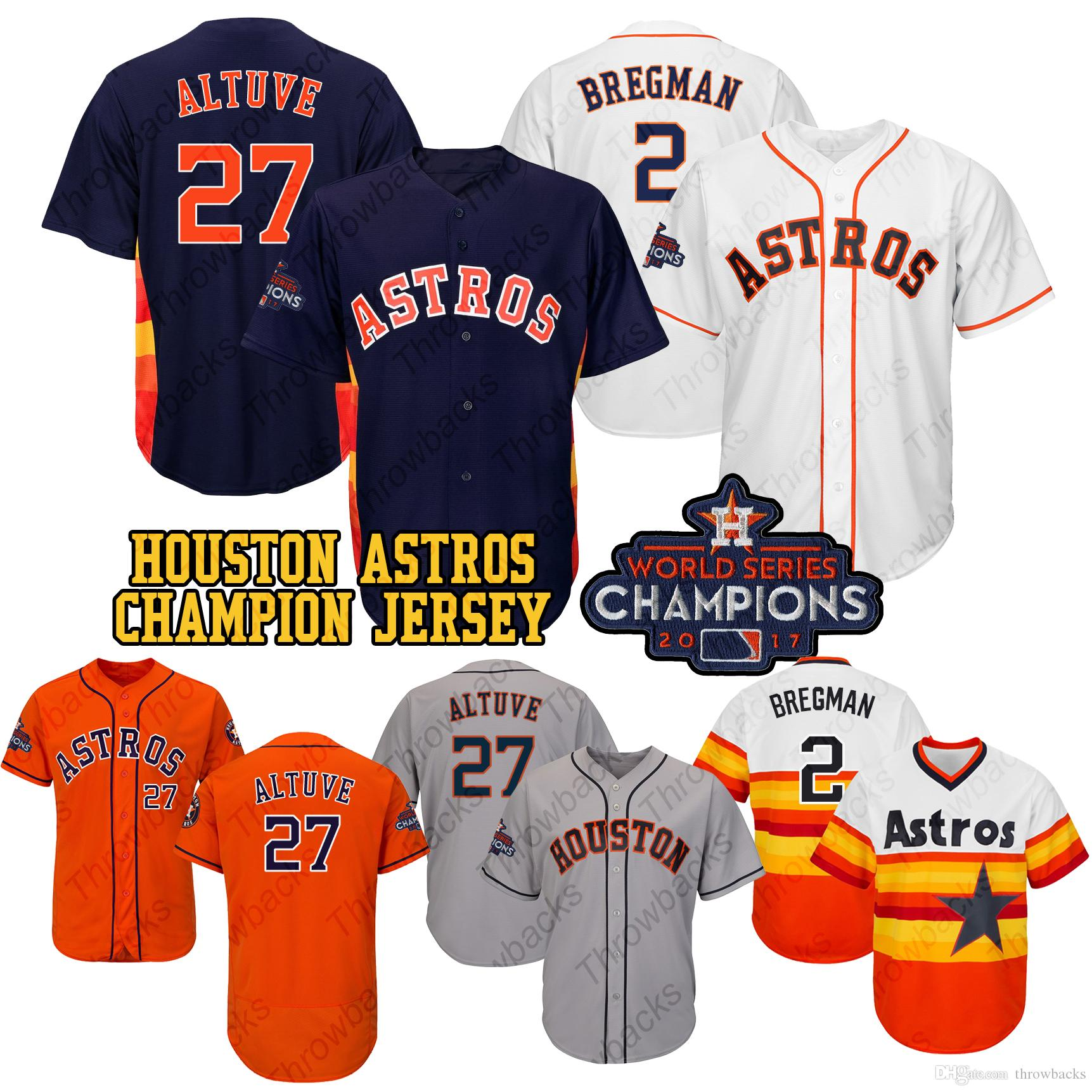 cfb7458b 2019 Houston 2017 Astros Jersey Josh Reddick Jose Altuve Alex Bregman  Michael Brantley Jeff Bagwell Champions Baseball Jerseys From Throwbacks,  ...