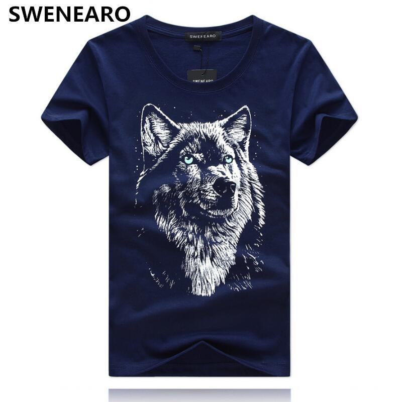 ede73c05 Swenearo Men's T-shirts Summer Casual Cotton Wolf 3d Cartoon Print T Shirt  Men O - Neck Short Sleeve Brand Tshirts Male Tops Tees