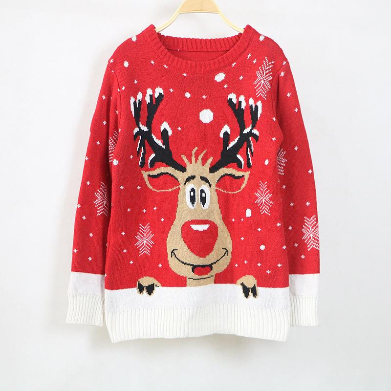 Christmas Deer Lady Sweater Suéter para hombre 2018 O-Neck Blue Red