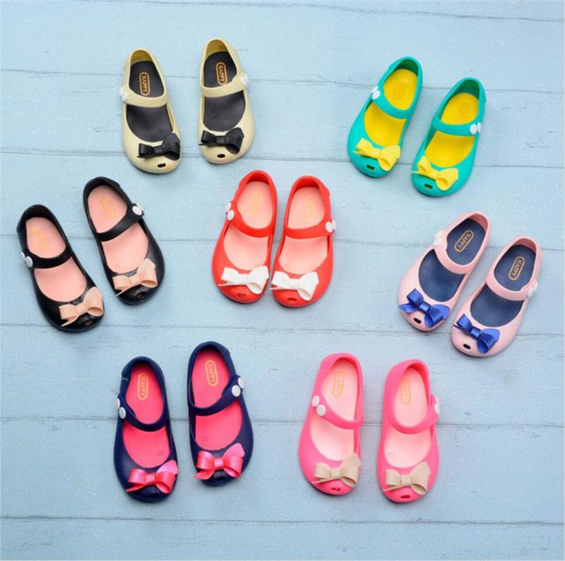 Kids Mini Melissa Designer Shoes Cartoon Antiskid Sandals Soft Breathable Holes Shoes Jelly Rainbow Slipper Girls Waterproof Shoes A61301