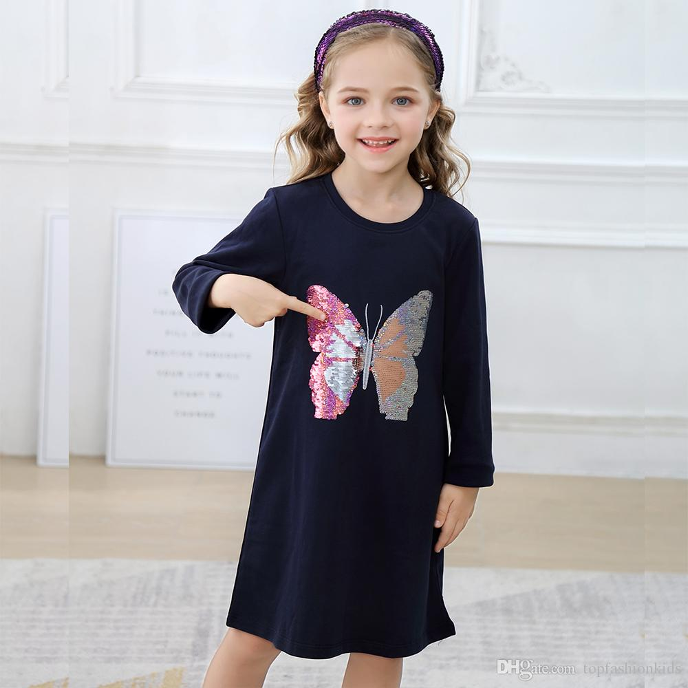 Baby Girl Designer Clothes Butterfly Reversible Sequins Girls Dresses Cotton Autumn Winter Kids Clothes Star Sequined Children Dress