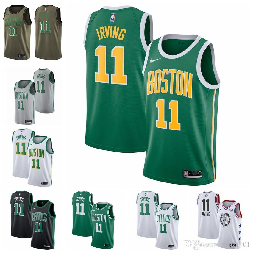 brand new 2bce9 36a34 2019 11 Kyrie Irvings Celtic Jersey The City Boston 0 Tatum 7 Brown 20  Hayward Basketball Jersey NEW