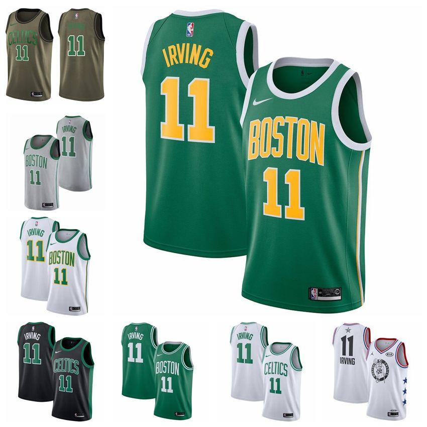 brand new b20e5 046ad 2019 11 Kyrie Irvings Celtic Jersey The City Boston 0 Tatum 7 Brown 20  Hayward Basketball Jersey NEW