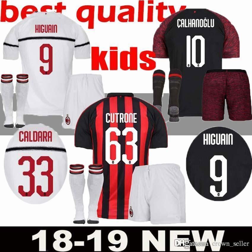 2019 2018 2019 ac milan kids soccer jersey suso 9 higuain 10 a4bc93576