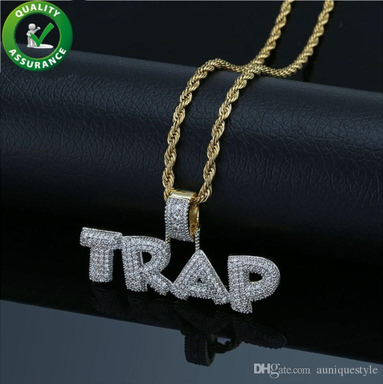 Jewelry Hip Hop Iced Out Bubble Letter Trap Pendant Necklace 18K Gold Micro Paved Simulated Diamond Chain Necklace Men Luxury Designer Charm