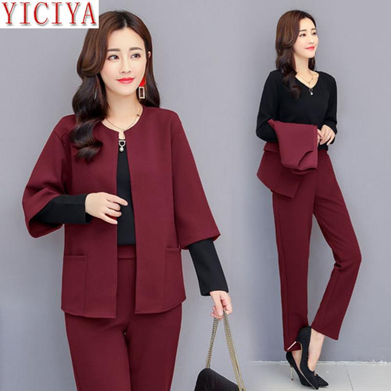 YICIYA purple 2 piece set outfits Formal women 3 piece suits 2018 winter autumn plus size 5XL Office pants suits top clothing