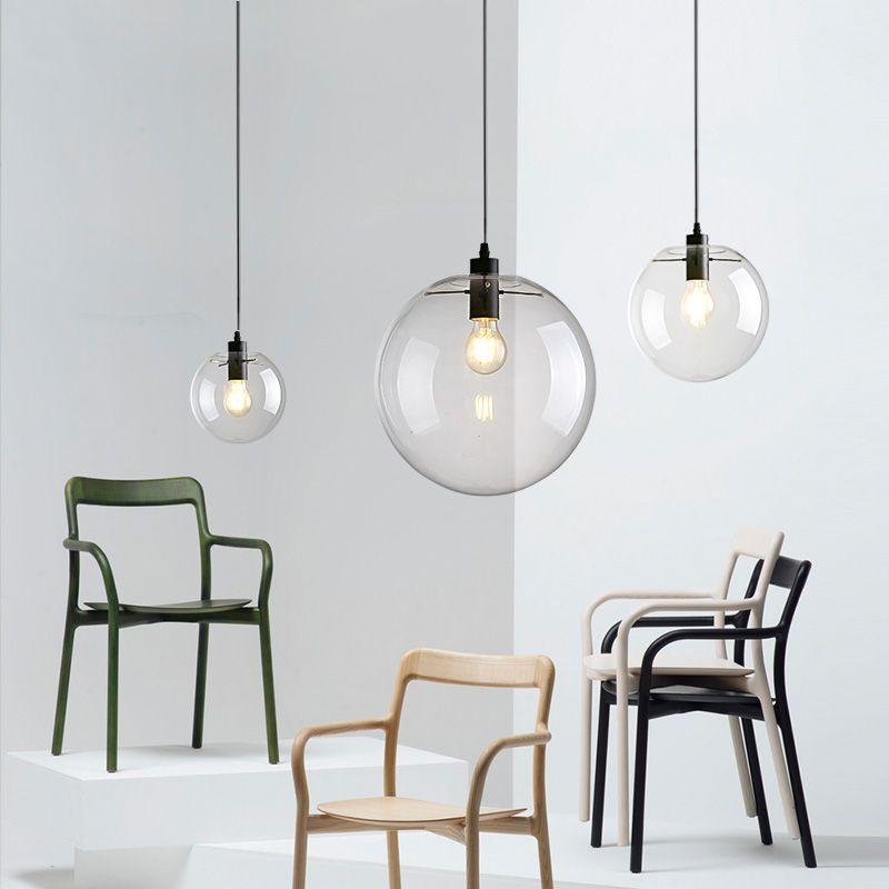 Led Globe Glass Ball Pendant Light Round Hanging Lamp Lustre