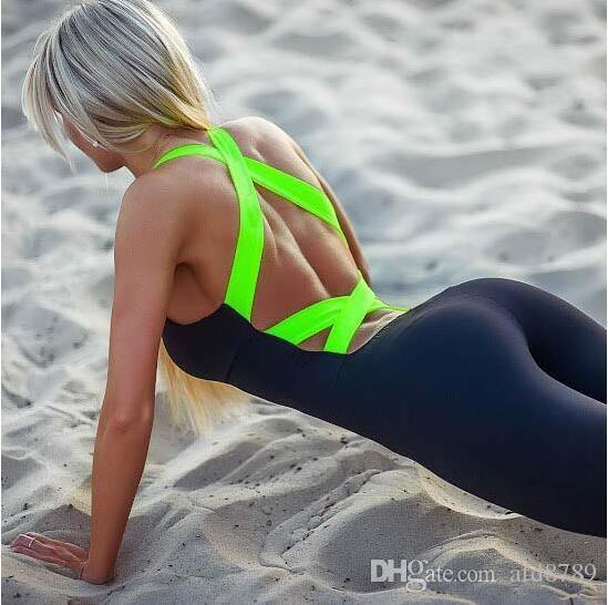 ec49c40dc96 2019 Yel Hot Sexy Girls Backless Playsuit Fitness Tights Jumpsuits Costume  Yoga Sport Suit Gym Tracksuit For Women One Piece Bodysuit From Afd8789