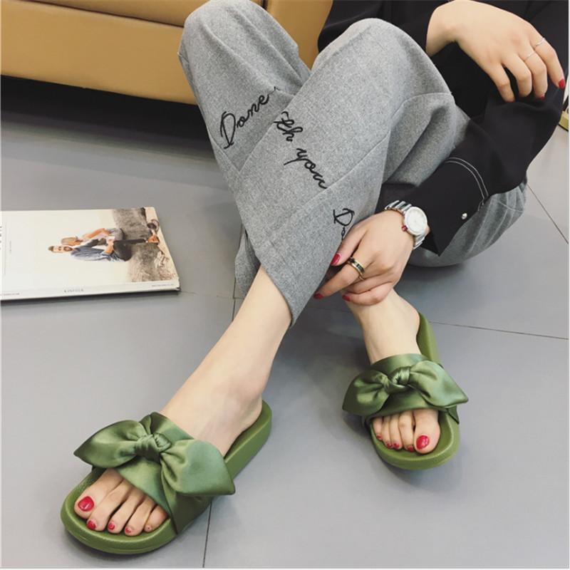 7892ffe67 Women Summer Beach Shoes Silk Bow Slides Woman No Fur Slippers Flat Heels  Flip Flops Ladies Rihanna Bohemia Sandals Birkenstock Cowboy Boots From  Caspink